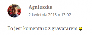 Komentarz z Gravatarem