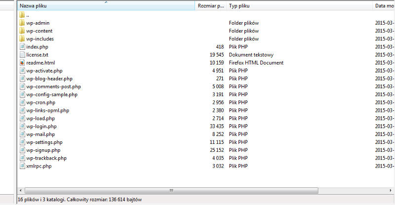 Filezilla - lista plików