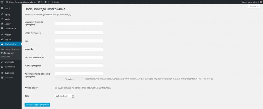Dodawanie nowego użytkownika w WordPressie