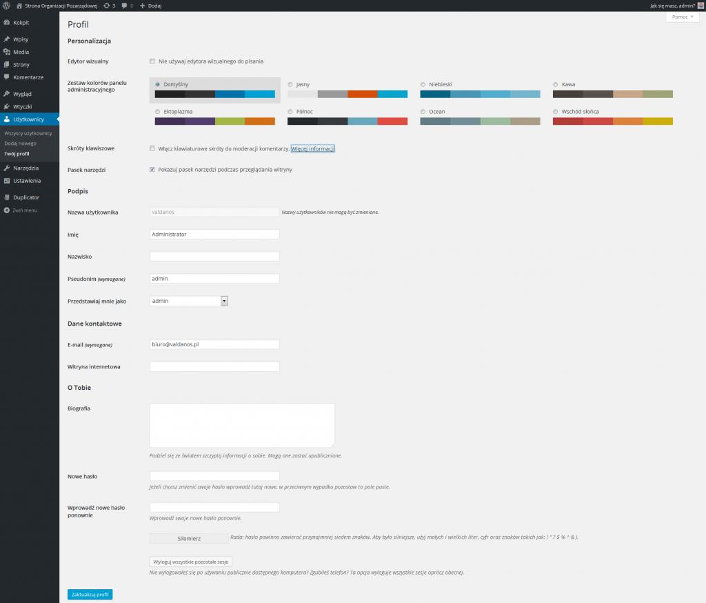 Profil użytkownika w WordPressie