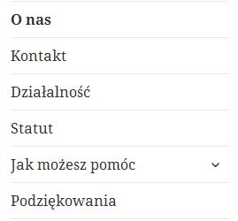 Przykładowe menu na stronie organizacji pozarządowej